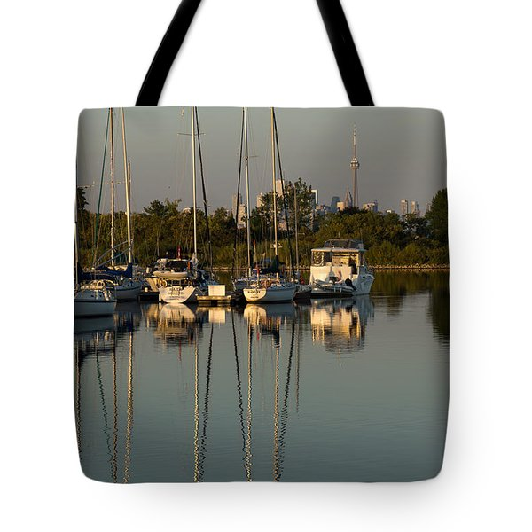 Quiet Summer Afternoon - Sailboats And Downtown Skyline Tote Bag by Georgia Mizuleva