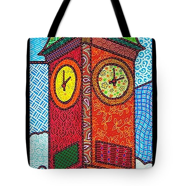 Quilted Clock Tower Tote Bag by Jim Harris
