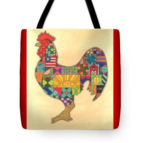 Quilted Rooster Tote Bag
