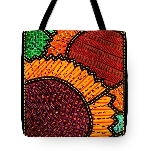 Quilted Sunflower Duo Tote Bag by Jim Harris