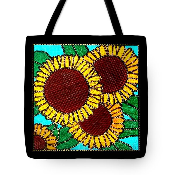 Quilted Sunflowers Tote Bag by Jim Harris