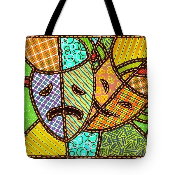 Quilted Theatre Masks Tote Bag by Jim Harris