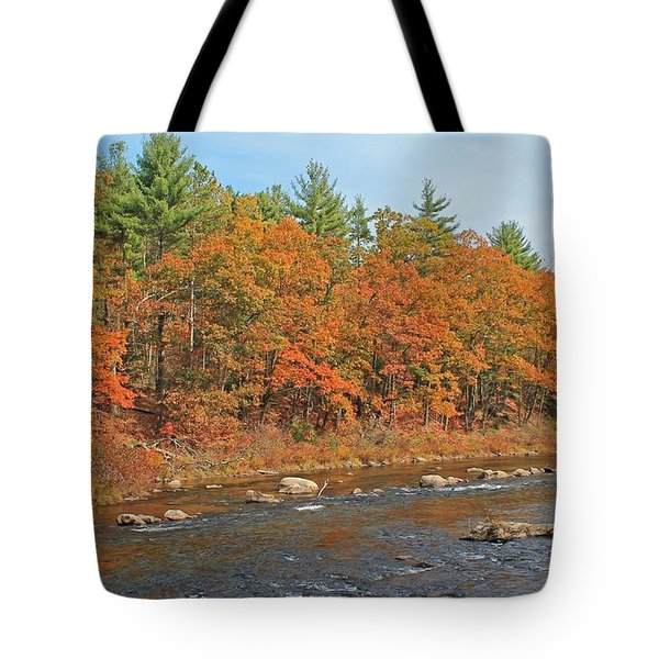 Quinapoxet River In Autumn Tote Bag