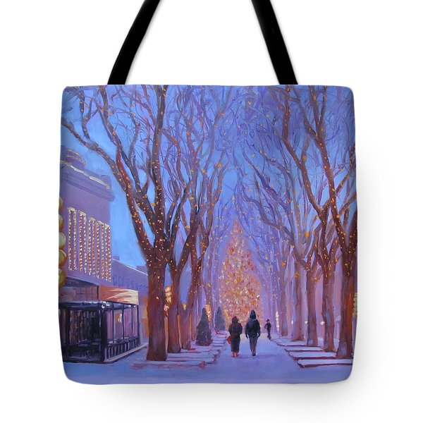 Quincy Market At Twilight Tote Bag by Laura Lee Zanghetti