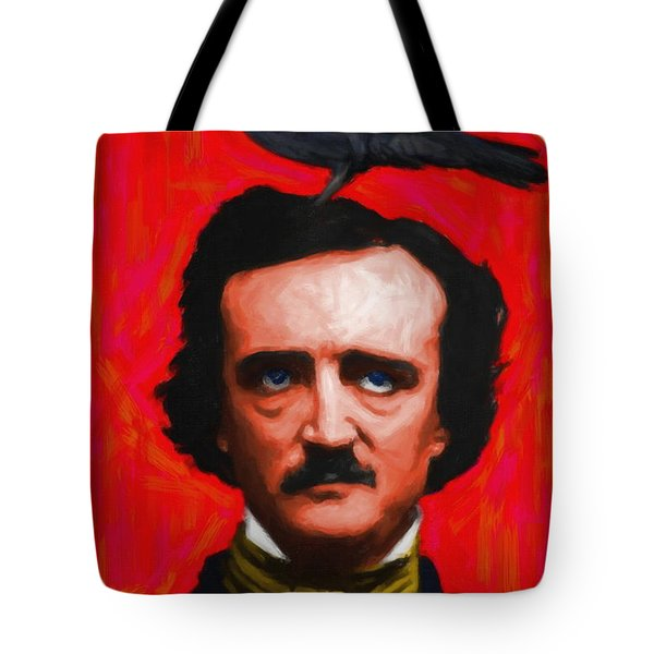 Quoth The Raven Nevermore - Edgar Allan Poe - Painterly - Red - Standard Size Tote Bag