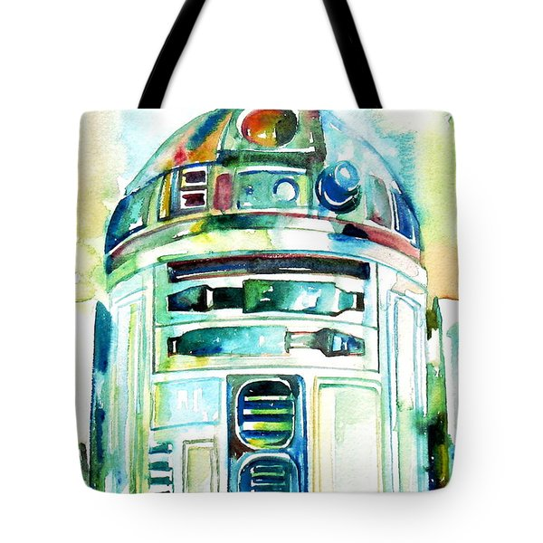 R2-d2 Watercolor Portrait Tote Bag