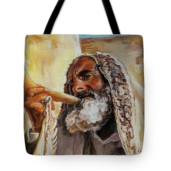Rabbi Blowing Shofar Tote Bag