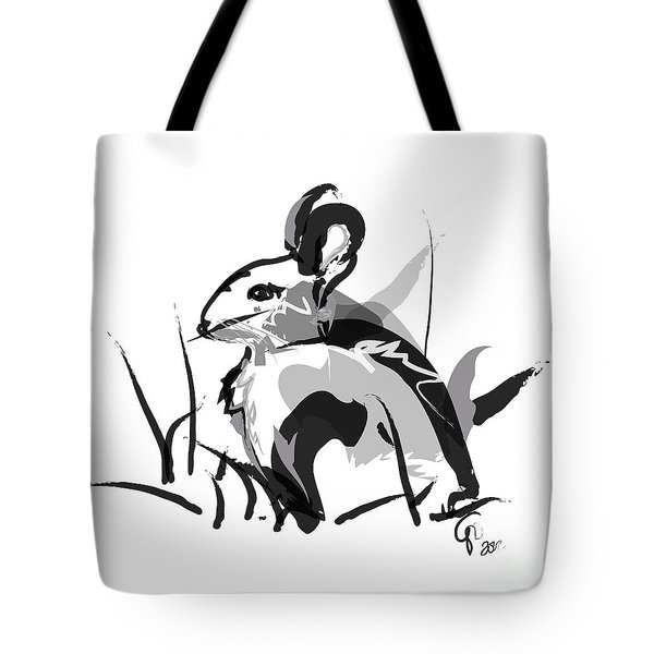 Tote Bag featuring the painting Rabbit Bunny Black White Grey by Go Van Kampen