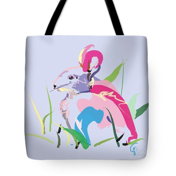 Tote Bag featuring the painting Rabbit - Bunny In Color by Go Van Kampen