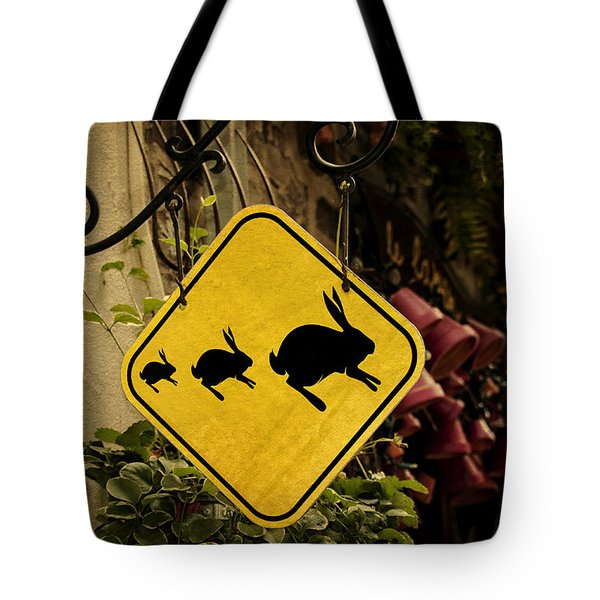 Rabbit Crossing Tote Bag