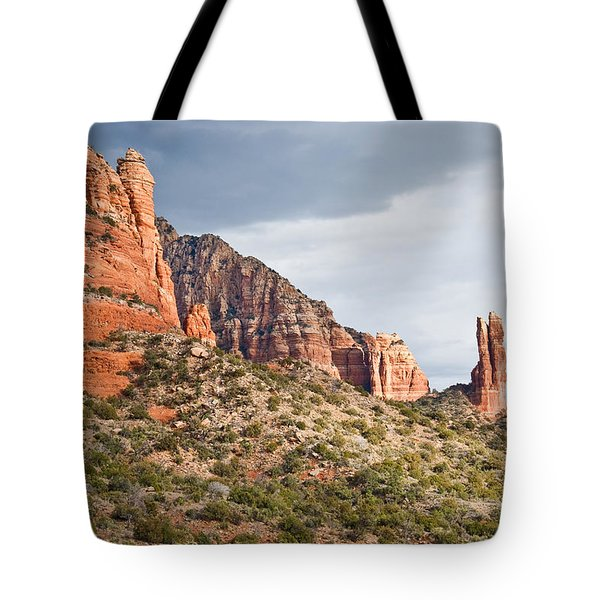 Tote Bag featuring the photograph Rabbit Ears Spire At Sunset by Jeff Goulden