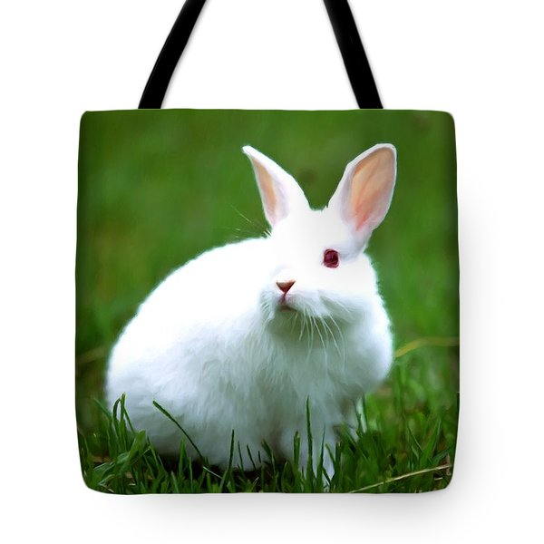 Rabbit On Grass Tote Bag by Lanjee Chee