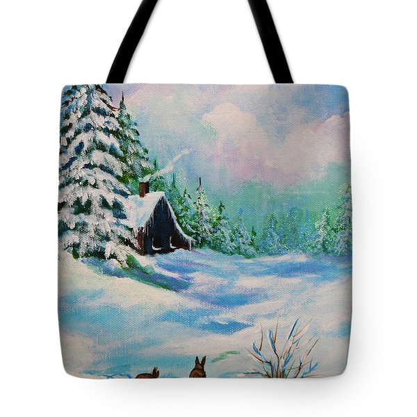 Tote Bag featuring the painting Rabbits Waiting For Spring by Bob and Nadine Johnston