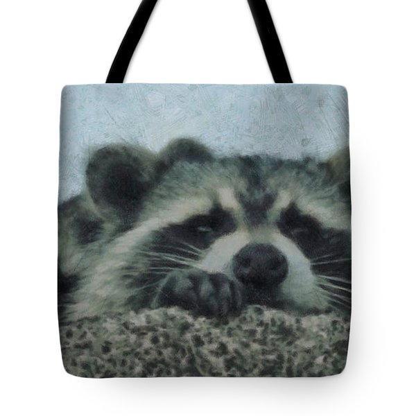 Raccoons Painterly Tote Bag by Ernie Echols