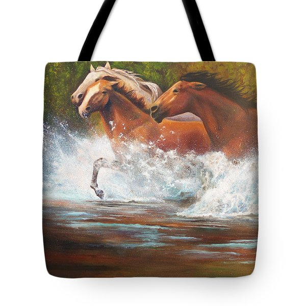 Tote Bag featuring the painting Race For Freedom Close Up by Karen Kennedy Chatham