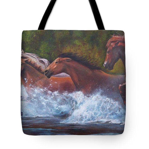 Tote Bag featuring the painting Race For Freedom by Karen Kennedy Chatham