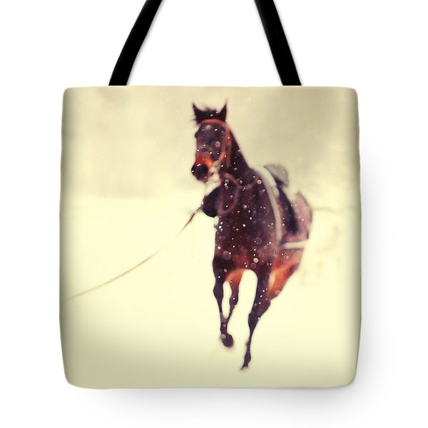 Race In The Snow Tote Bag by Jenny Rainbow