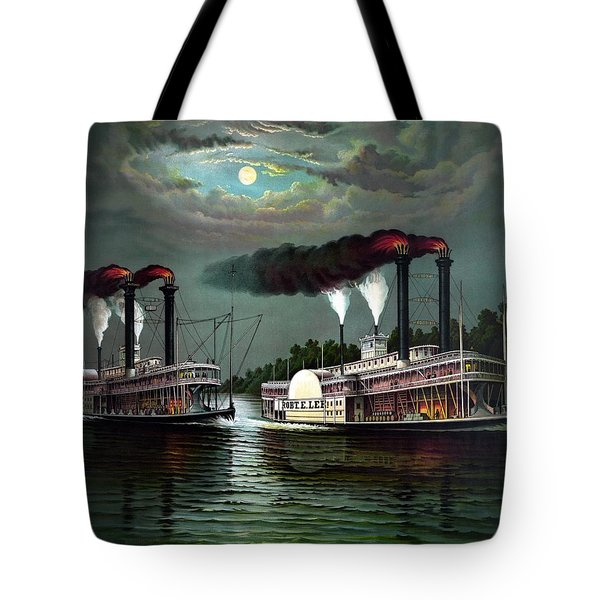 Race Of The Steamers Robert E Lee And Natchez Tote Bag by War Is Hell Store