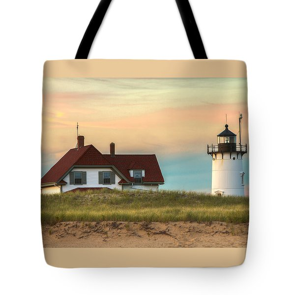 Race Point Light At Sunset Tote Bag