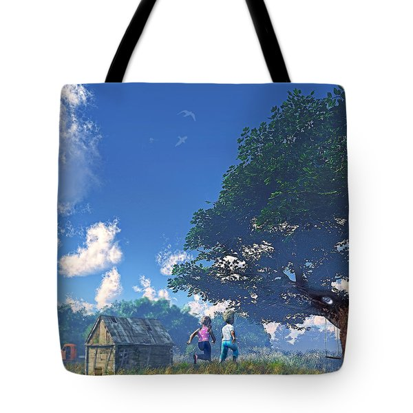 Race To The Swing Tote Bag by Ken Morris
