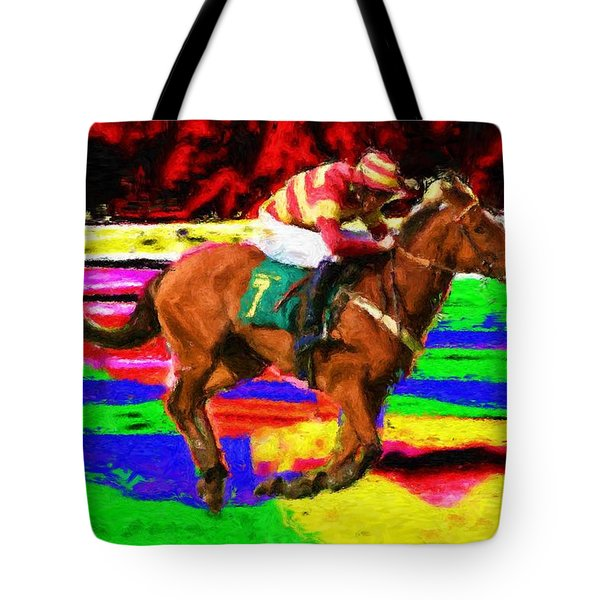 Racehorse Tote Bag by Ron Harpham