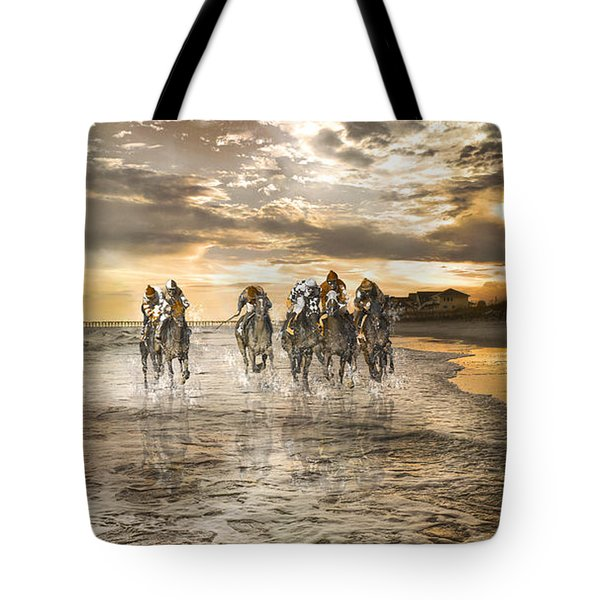 Racing Down The Stretch Tote Bag by Betsy Knapp