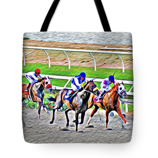 Tote Bag featuring the photograph Racing Horses by Christine Till