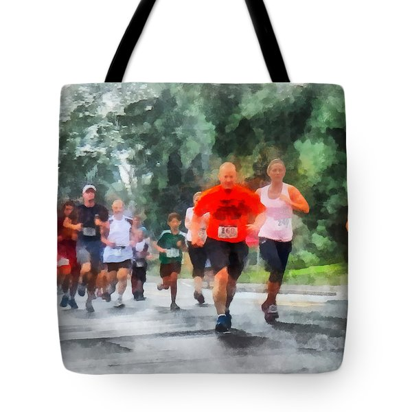 Tote Bag featuring the photograph Racing In The Rain by Susan Savad