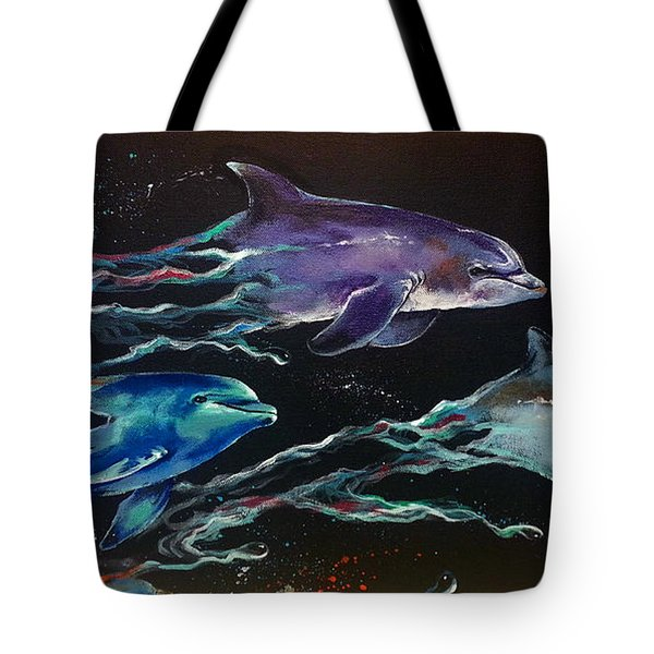 Racing The Waves Tote Bag by Marco Antonio Aguilar