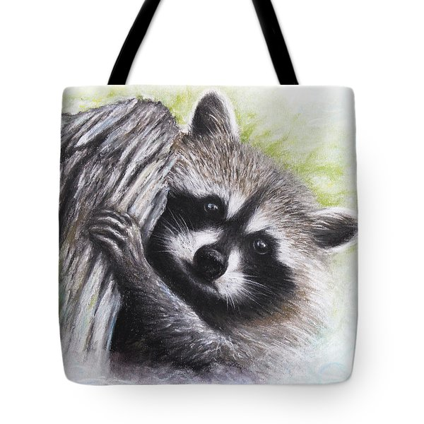 Tote Bag featuring the drawing Raccoon  by Patricia Lintner