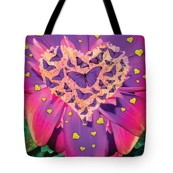 Radiant Butterfly Heart Tote Bag by Alixandra Mullins