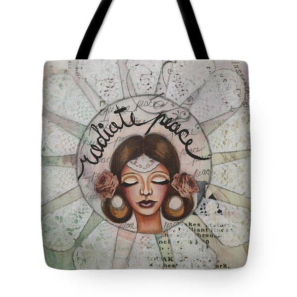 Radiate Peace Inspirational Mixed Media Folk Art  Tote Bag by Stanka Vukelic