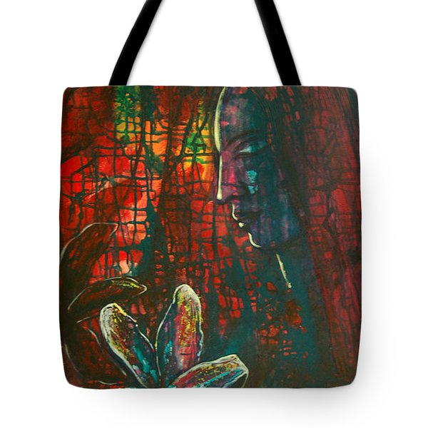 Tote Bag featuring the painting Radiating Light by Mini Arora