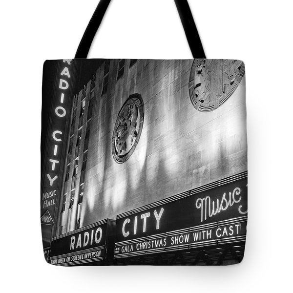 Radio City Music Hall Marquee Tote Bag by Underwood Archives
