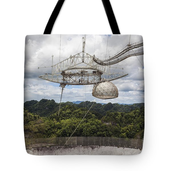 Tote Bag featuring the photograph Radio Telescope At Arecibo Observatory In Puerto Rico by Bryan Mullennix