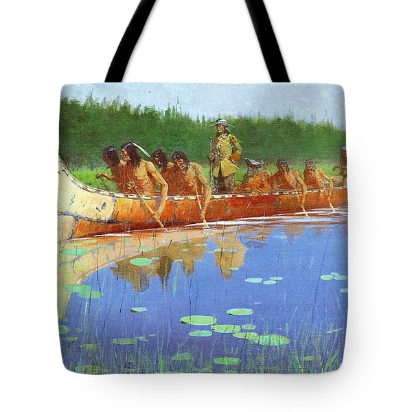Radisson And Groseilliers Tote Bag by Fredrick Remington
