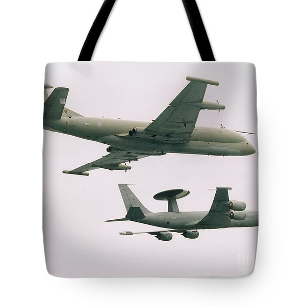 Tote Bag featuring the photograph Raf Nimrod And Awac Aircraft by Paul Fearn