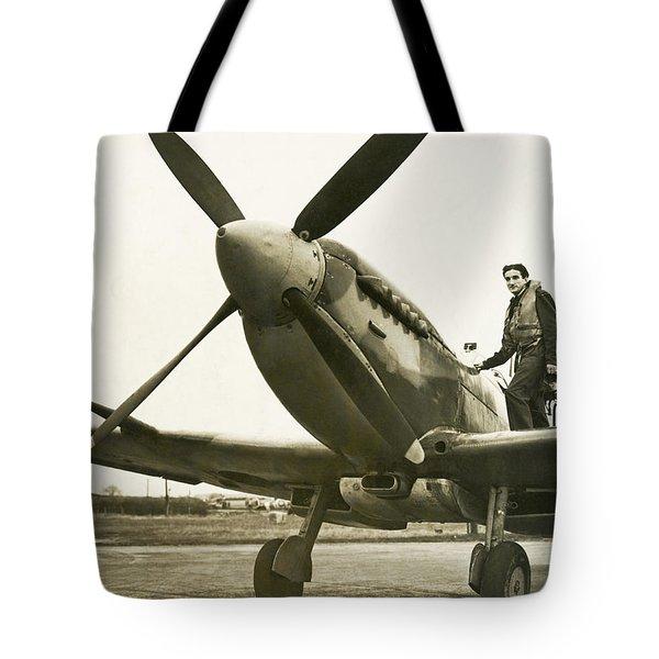 Raf Pilot With Spitfire Plane Tote Bag