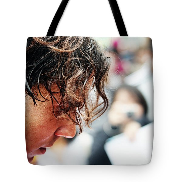 Rafael Nadal From Up Close Tote Bag by Nishanth Gopinathan