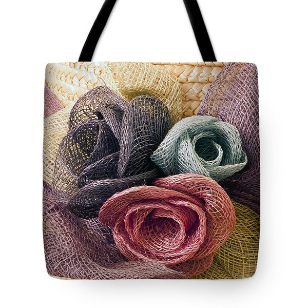 Tote Bag featuring the photograph Raffia Roses Macro by Sandra Foster