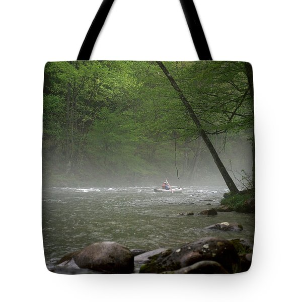 Rafting Misty River Tote Bag by Lawrence Boothby