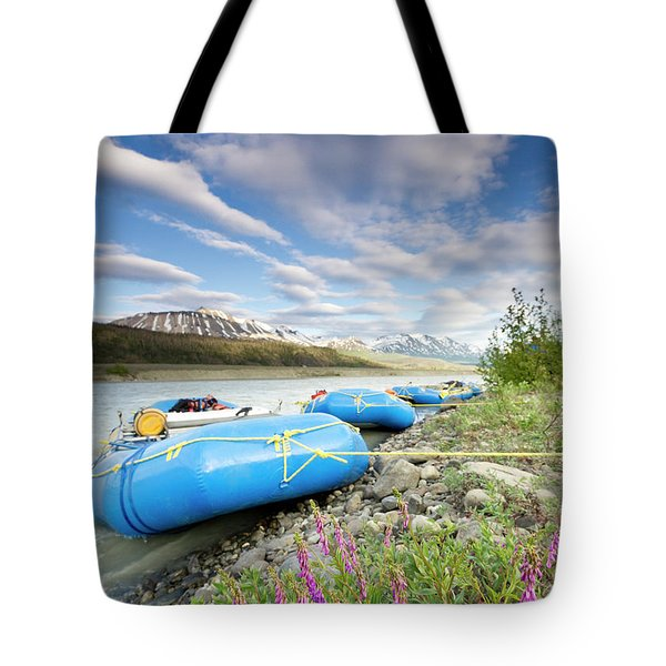 Rafts And Wildflowers Along The Alsek Tote Bag
