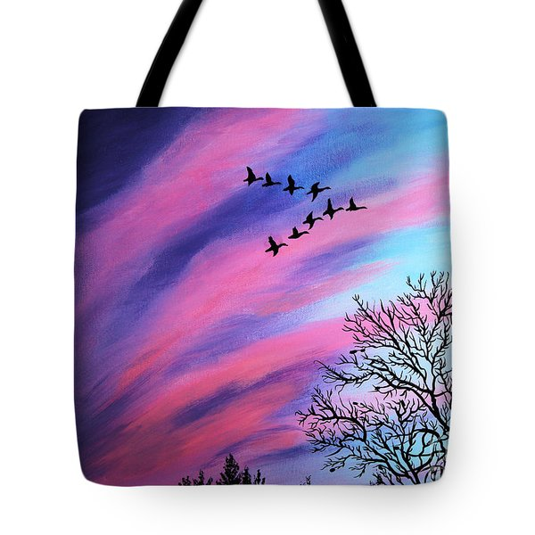 Raging Sky And Canada Geese Tote Bag by Barbara Griffin