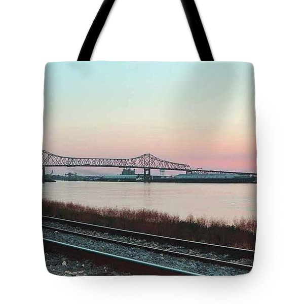 Tote Bag featuring the photograph Rail Along Mississippi River by Charlotte Schafer