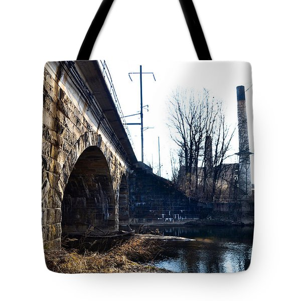 Rail Road Bridge Over The Brandywine Creek Downingtown Pa Tote Bag by Bill Cannon