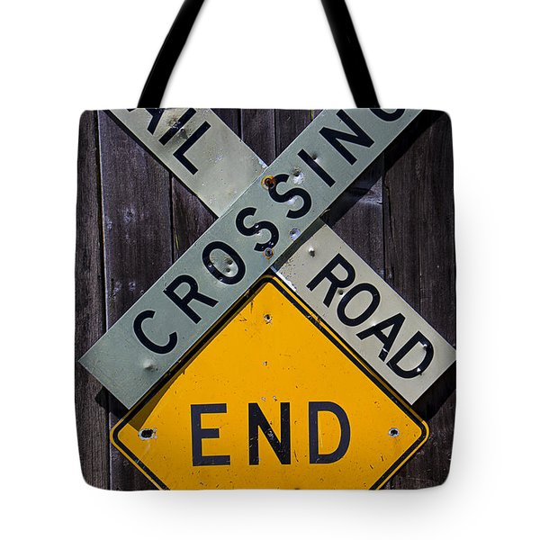 Rail Road Crossing End Sign Tote Bag by Garry Gay
