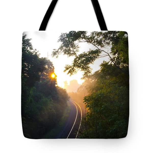 Rail Road Sunrise Tote Bag by Bill Cannon