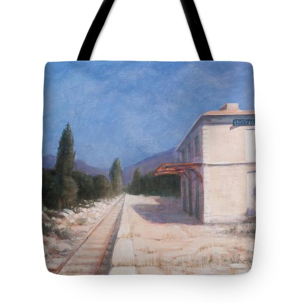Rail Station, Châteauneuf, 2012 Acrylic On Canvas Tote Bag