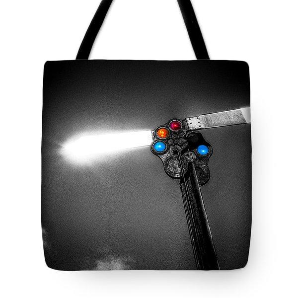 Railroad Signal Tote Bag by Bob Orsillo