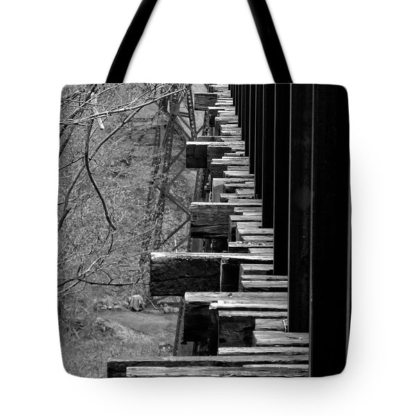 Tote Bag featuring the photograph Railroad Ties On Trestle Bridge by Kristen Fox